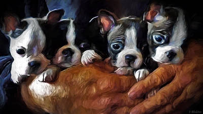 Safe In The Arms Of Love - Puppy Art Print by Jordan Blackstone