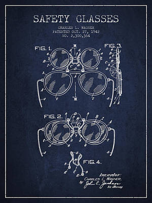 Glass Wall Digital Art - Safety Glasses Patent From 1942 - Navy Blue by Aged Pixel