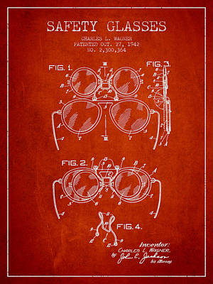 Glass Wall Digital Art - Safety Glasses Patent From 1942 - Red by Aged Pixel