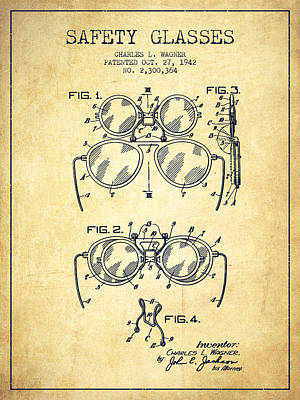 Glass Wall Digital Art - Safety Glasses Patent From 1942 - Vintage by Aged Pixel