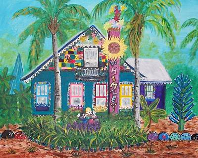 Recycled Painting - Safety Harbor Bowling Ball House by Sandi Ragg