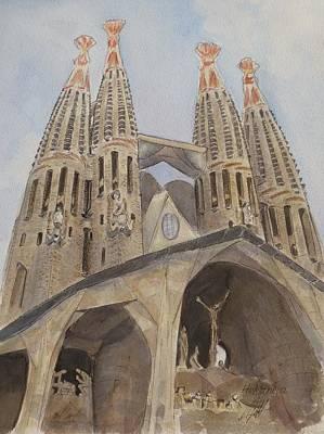 Barcelona Painting - Sagrada Familia Barcelona by Henrieta Maneva