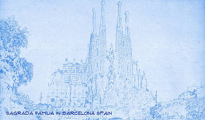 Barcelona Mixed Media - Sagrada Familia In Barcelona Spain  - Blueprint Drawing by MotionAge Designs