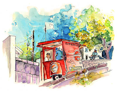 Travel Sketch Drawing - Sagres Beer Stand In Barca De Alva In Portugal by Miki De Goodaboom