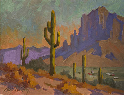 Saguaro Cactus Painting - Saguaro Cactus And Apache Junction by Diane McClary