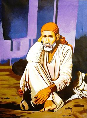 Baba Painting - Sai Baba Sitting In Dwarkamai Shirdi  by Yogesh Haraale