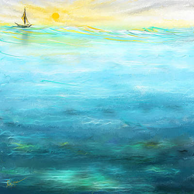 Sail Away- Sailing At Sunset Painting Print by Lourry Legarde