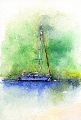 Sail Boat At Malfini Haiti Original by John D Benson