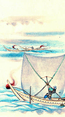 Ink Wash Drawing Photograph - Sail Net Fishing 1878 by Padre Art