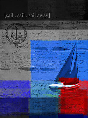 Multicolored Digital Art - Sail Sail Sail Away - J179176137-01 by Variance Collections