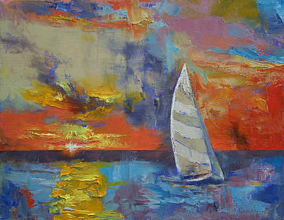 Abstract Seascape Painting - Sailboat by Michael Creese
