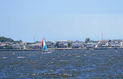 Posts Photograph - Sailboat On Roanoke Sound by Cathy Lindsey