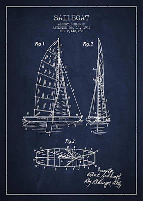 Boat Digital Art - Sailboat Patent Drawing From 1938 by Aged Pixel