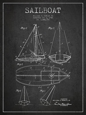Boat Digital Art - Sailboat Patent Drawing From 1948 by Aged Pixel