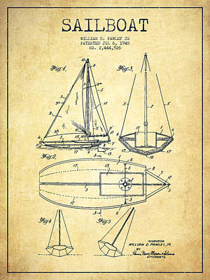 Boat Digital Art - Sailboat Patent Drawing From 1948 - Vintage by Aged Pixel