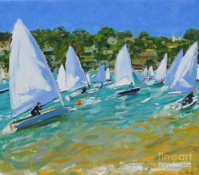 Buoys Painting - Sailboat Race by Andrew Macara