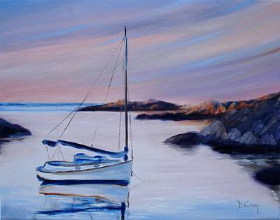 Waterscape Painting - Sailboat Reflections I by Donna Tuten