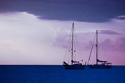 Sailboats At Sunset Print by Don Schwartz