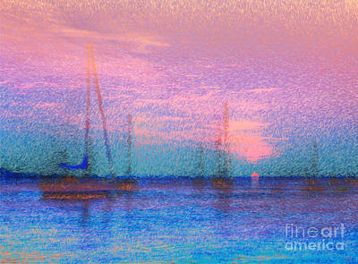 Sunrise Photograph - Sailboats At Sunset by Jeff Breiman