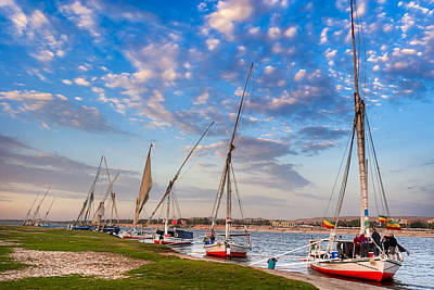 Egypt Photograph - Sailboats Beached On The Banks Of The Nile by Mark E Tisdale