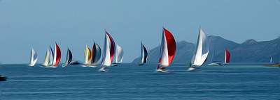 Sailboats Print by Stefan Petrovici