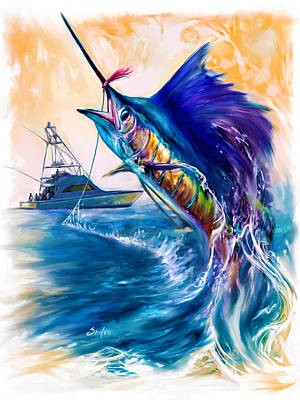 Swordfish Mixed Media - Sailfish And Sportfisher Art by Savlen Art