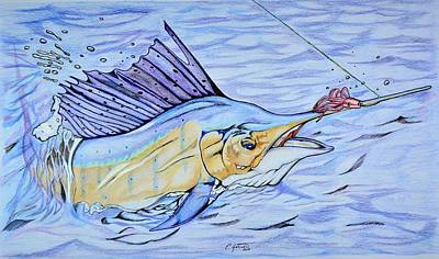 Sailfish On The Line Print by Edward Johnston