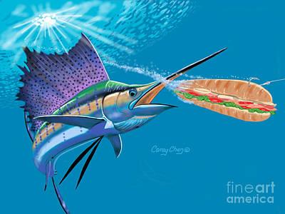 Swordfish Digital Art - Sailfish Sub by Carey Chen