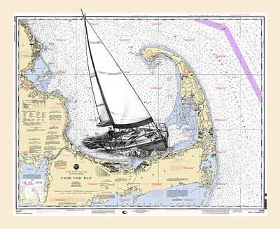 Chart Mixed Media - Sailing Cape Cod Bay by Jack Pumphrey