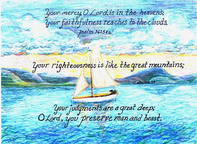 Mercy Drawing - Sailing  by Catherine Saldana