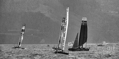 White Photograph - Sailing For The Americas Cup by Scott Cameron