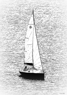 Watersports Drawing - Sailing Home by Bishopston Fine Art