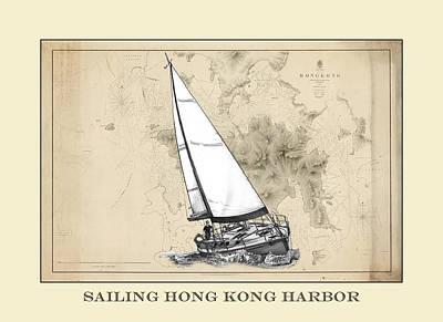Chart Mixed Media - Sailing Hong Kong Harbor by Jack Pumphrey