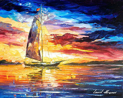Sailing In Cancun - Palette Knife Oil Painting On Canvas By Leonid Afremov Original by Leonid Afremov