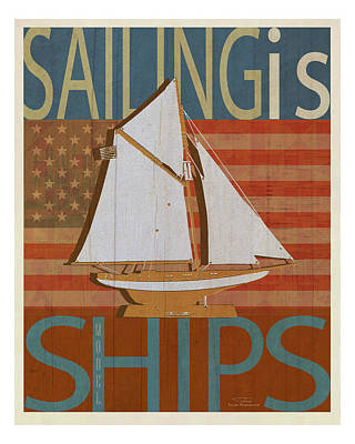 American Flags Drawing - Sailing Is Model Ships Columbia by Joost Hogervorst