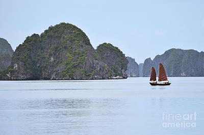 Sailing Junk Boats In Halong Bay Print by Sami Sarkis