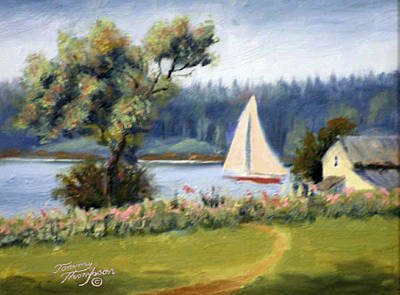 Penobscot Bay Painting - Sailing North Haven by Tommy Thompson