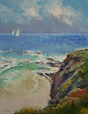 Abstract Seascape Painting - Sailing Off The Cove by Michael Creese