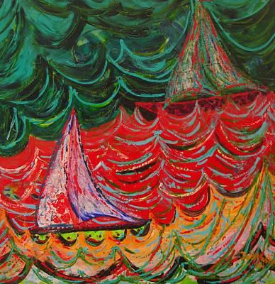 Sailing On Fire Original by Judi Mosby