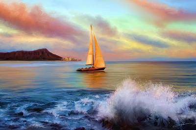 Sailboat Digital Art - Sailing Past Waikiki by Dale Jackson