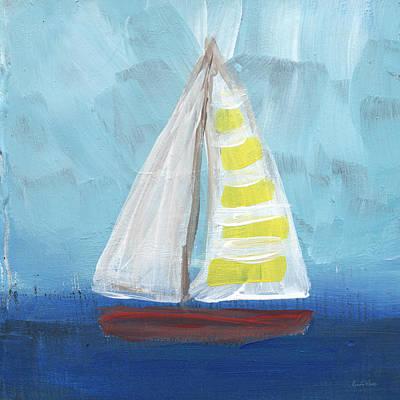 Sailboat Ocean Painting - Sailing- Sailboat Painting by Linda Woods