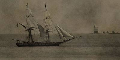 Sailing Ship And Round Island Light Print by Dan Sproul