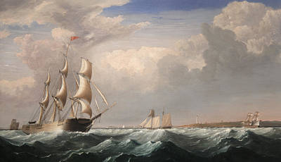 Sailing Ships Off The New England Coast Print by Fitz Hugh Lane