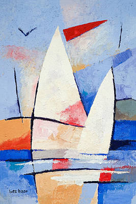 Abstract Seascape Painting - Sailing Signs by Lutz Baar