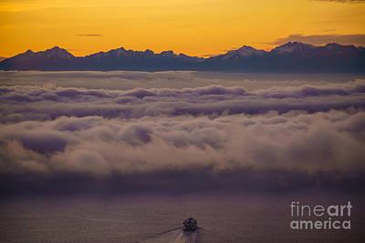 Seattle Skyline Photograph - Sailing Westward Under The Fog by Mike Reid