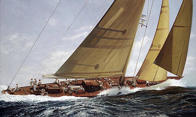 J Boat Painting - Sailor's Edge - The Velsheda by Julia O'Malley-Keyes