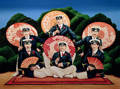 Troupe Painting - Sailors With Umbrellas by Anthony Southcombe
