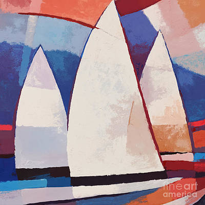 Abstract Seascape Painting - Sails Ahead Graphic by Lutz Baar