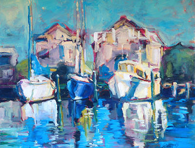 Motor Boats Painting - Sails On Pamlico by Sue Scoggins