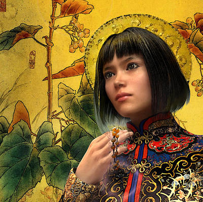 Rosary Digital Art - Saint Agatha Lin Zhao Of China by Suzanne Silvir